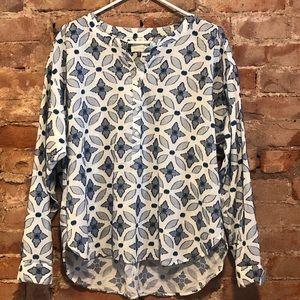 Loft The Softened Shirt Blue Stitch Blouse Size L